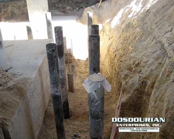 Micropiles used to retrofit bridge footing